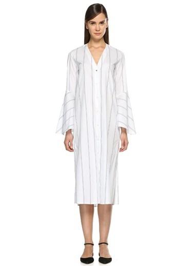 Academia Çizgi Desenli V Yaka Kolları Volanlı Elbise Lacivert